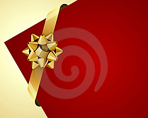 Greeting Red Corner Card With Gold Bow Stock Photo - Image: 17549400