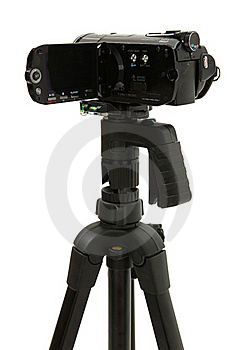 Open HD Camcorder On Tripod Royalty Free Stock Images - Image: 17552149