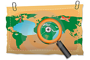 Map With Compass And Lens Royalty Free Stock Image - Image: 17557986
