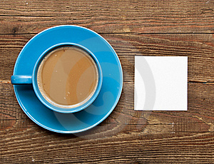 Blank Card On Coffee Cup Stock Image - Image: 17561271