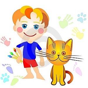 Um Menino E Um Desenho Do Gato Fotos de Stock Royalty Free - Imagem: 17561558