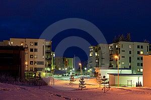 Winter Night Scene Stock Photography - Image: 17565782