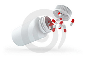 Droped White Bottle With Pills Royalty Free Stock Image - Image: 17565796