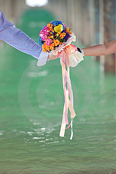 Two Hand Holding Beautiful Flower Bouquet Stock Images - Image: 17566564