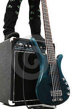 Amp And 5 String Bass Guitar Royalty Free Stock Photography - Image: 17571487