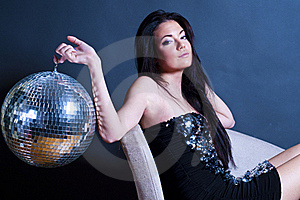 Glamourous Young Girl With Disco Ball Stock Photos - Image: 17571643