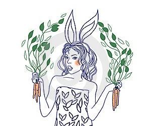 Rabbit-girl Royalty Free Stock Photography - Image: 17573397