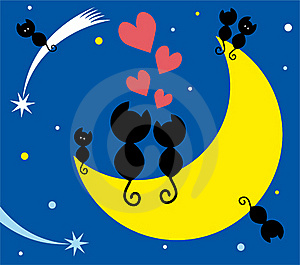 Two Cats On The Moon And Kittens Royalty Free Stock Images - Image: 17573799