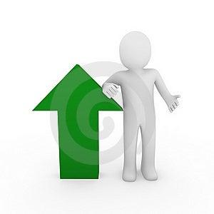 3d Human Arrow Success Green Stock Photography - Image: 17578162
