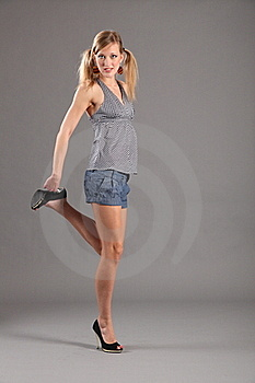 Sexy Blonde Fashion Model In Heels And Shorts Royalty Free Stock Photos - Image: 17580638