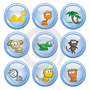 African Animals Buttons Stock Photography - Image: 17581302