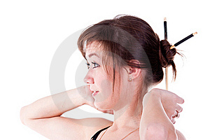 Beautiful Young Girl Adjusting Her Hairstyle Stock Photos - Image: 17586693