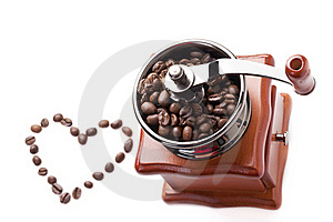 Coffee Grinder With Coffee Beans Royalty Free Stock Photo - Image: 17589185