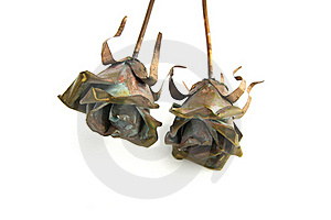Two Metal Rose Decorations Royalty Free Stock Photo - Image: 17589205