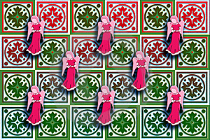 Gift Box Wrap Red & Green With Floating Angels Stock Images - Image: 17590884