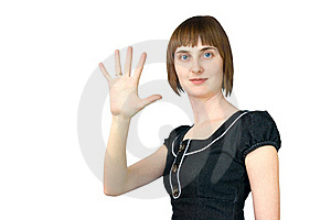 The Girl Shows Five Fingers Stock Images - Image: 17590924