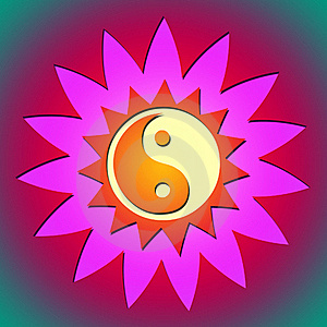 Ying Yang Flower & Sun Royalty Free Stock Photography - Image: 17590997