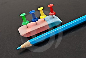 The Varicoloured Office Button,lasting And Pencil. Royalty Free Stock Photos - Image: 17592198