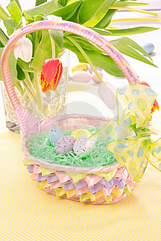 Easter Painted Eggs In Basket Stock Image - Image: 17596941