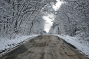 Snowy Tunnel Road From Forest To Cloudy Sky Stock Photography - Image: 17597872