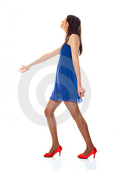 Young Woman With Blue Dress And Red Shoes Royalty Free Stock Photos - Image: 17598728