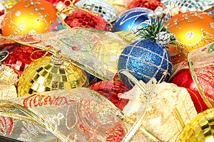 Set Of Multi-coloured New Year's Ornaments And Ribbons 1 Royalty Free Stock Photography - Image: 1767157