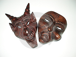 Pair Evil Satanic Weird Wooden Evil Mask Royalty Free Stock Photography - Image: 1769977