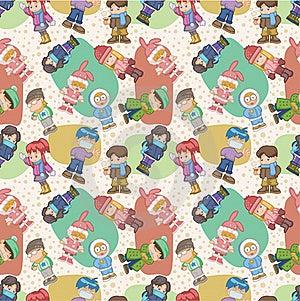 Seamless Winter People Pattern Royalty Free Stock Image - Image: 17600196