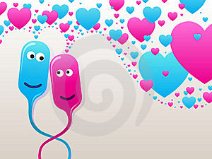 Bubble-heads In Love Royalty Free Stock Images - Image: 17602669