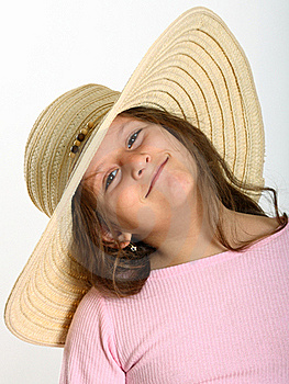 Little Girl Straw Hat Stock Photos - Image: 17603883