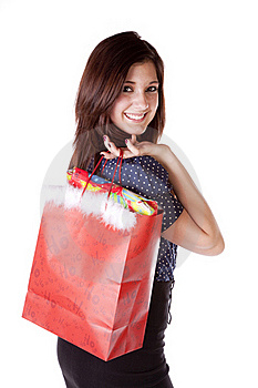 Shop Look Over Shoulder Red Bag Stock Photography - Image: 17605862