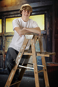Happy Ladderl-Teen Stock Photo - Image: 17606340