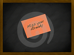 Miss You Note On A Framed Blackboard Royalty Free Stock Photos - Image: 17618678
