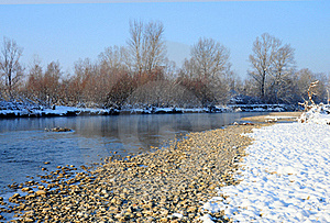 Rocky River Covered By Snow Royalty Free Stock Image - Image: 17620426