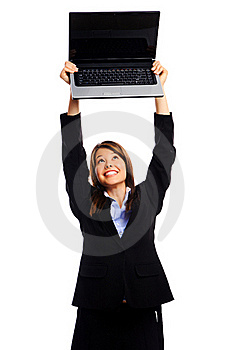 Businesswoman Holding Laptop Stock Image - Image: 17621861