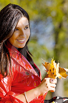 Young Woman In Autumn Park Royalty Free Stock Photography - Image: 17628717