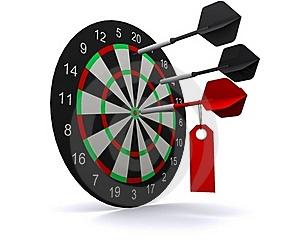 Three Darts Hit The Circle Of Darts Stock Photo - Image: 17629130