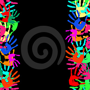 Grunge Seamless Frame From Prints Of Hands. Vector Stock Image - Image: 17629831