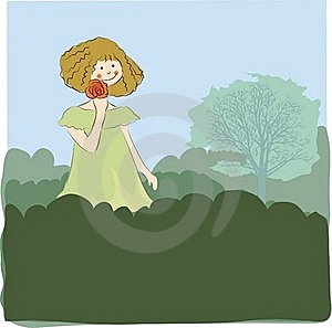 Girl Walking In The Field Royalty Free Stock Photo - Image: 17630515