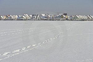 New Build Quarter In Snow Stock Photo - Image: 17631250