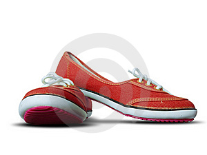 Red Fabric Shoes Royalty Free Stock Images - Image: 17632339