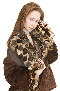 Beautiful Girl In Fur Coat Royalty Free Stock Image - Image: 17633766