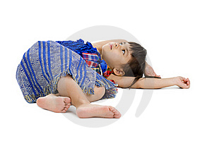 Cute Little Girl Laying On The Floor Royalty Free Stock Images - Image: 17634639