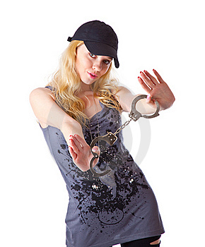 A Girl With Handcuffs In Hands Royalty Free Stock Photos - Image: 17634918