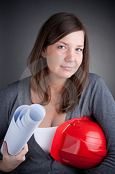 Portrait Of Young Architect Wearing Red Hardhat Stock Images - Image: 17635694