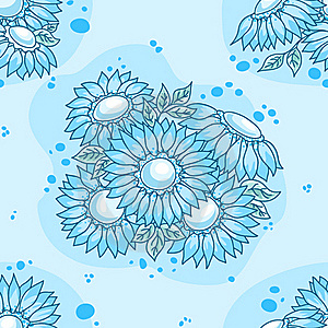 Seamless Pattern Blue Flowers Bouquet. Stock Images - Image: 17637704