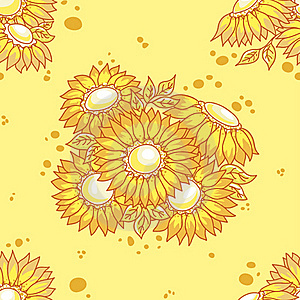 Seamless Pattern Yellow Flowers Bouquet. Royalty Free Stock Images - Image: 17637719