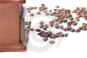 Coffee Grinder And Coffee Beans Royalty Free Stock Images - Image: 17640139
