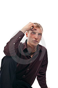 Adult Guy Sits Isolate Stock Photos - Image: 17642773