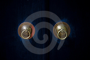 Historical Copper Handles On Blue Doors Royalty Free Stock Image - Image: 17645666